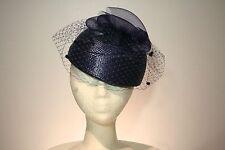 Women's Midnight Blue Pillbox Dress Hat With Veil Netting