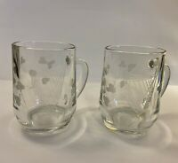 Etched Shamrock Harp Glass Irish Coffee Mugs - Set of 2