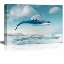 wall26 - Canvas - A Little Pig Flying with a Whale Above the Clouds - 16x24