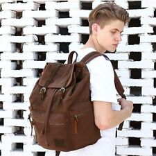 Large Capacity Vintage Canvas Shoulder Backpack with Leather School Travel Bag