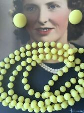 ANTIQUE VINTAGE YELLOW JADE GLASS BEAD NECKLACE OPERA FLAPPER LENGTH EARRINGS
