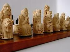 CHESS SET-Stunning heavy medieval / isle of lewis style chessmen game pieces