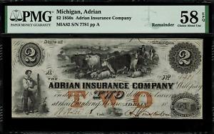 1850's $2 Obsolete - Adrian, Michigan - Adrian Insurance Company - PMG 58 EPQ