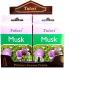 3 boîtes d'encens Tulasi 15 Cônes Musk