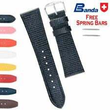 Banda Premium Grade Calfskin Lizard Grain Leather Watch Bands (Sizes 8 - 22mm)