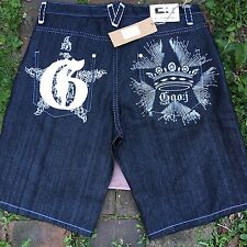 "Pilgrims MR Collection I5605 Raw Denim Shorts Black/Silver Size 42 W 27"" Long"