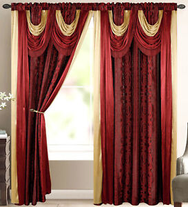 Elena Luxury Jacquard Curtain Panel with Attached Waterfall Valance & Scarf 54 w