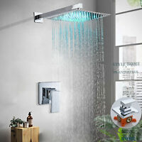 Shower Faucet Combo Set 12 inch LED Rainfall Ultra-thin Shower With Valve