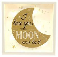 Marco Dorado Caja de Luz LED Placa de pared 20X3X20CM ~ te amo a la Luna y trasero