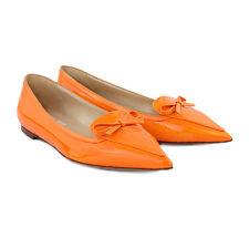 Valentino Fluro Orange Patent Leather Pointed Toe Flats Ballerinas Shoes IT37.5