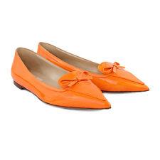Valentino Fluro Orange Patent Leather Pointed Toe Flats Ballerinas Shoes IT37.5