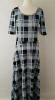 Medium LuLaRoe Ana Dress Check Plaid Blue Black True to Size Discontinued Style