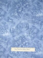 Western Fabric - Red River III Blue Cowboy Ranch Toile - RJR Cotton 1.86 Yards