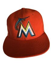 New Era Mens Hat Size 6 7/8 Orange Miami Marlins 59FIFTY Baseball MLB Fitted Cap