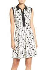 Betsey Johnson Collared Fit & Flare Dress Black & White Print Zip Front Size 6