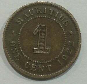 1922 Mauritius 1 Cent - George V Coin