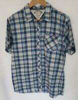 Tommy Hilfiger Mens Plaid Short Sleeved Shirt Medium M Button Up Blue White