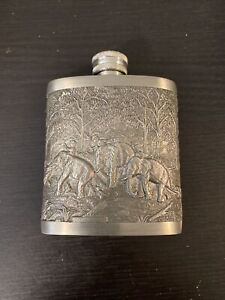 Pewter Hip Flask with Elephants