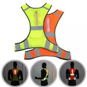 2 Colors reflective cycling/running vest with led lights mens/womens K1F7