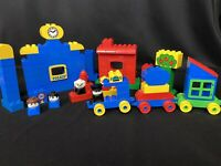 Lego Duplo Lot Town w/ Police Station, Train Cars, Figures, & More 100+ Pieces