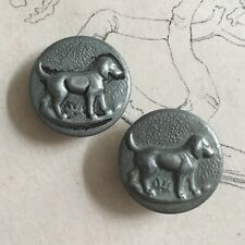 2 Antique Buttons Hunting Hunting with Hounds Dog - Antique Hunt Buttons 22 MM