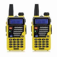 2x Baofeng UV-5R Plus Qualette Yellow 2m/70cm Band VHF UHF FM Ham Two-way Radio