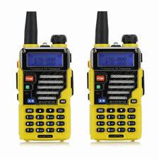 2x Baofeng UV-5R Plus Qualette Yellow 136-174/400-520 MHz FM Ham Two-way Radio