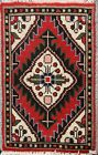 Hand-knotted Geometric Oriental Traditional Area Rug Wool 1'x2' Red Foyer Carpet