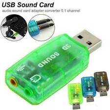 USB 2.0 Sound Card External 5.1 Channel 3D Mic Speaker Virtual Audio PC Adapter
