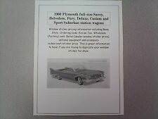 1960 Plymouth Fury,etc factory cost/dealer sticker prices for car & options $ 60