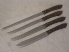 4 EKCO Stainless knife lot butcher slicer serrated slicing cutlery lot vintage +