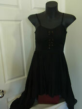 Ladies Mooloola Black Hi Low Tie up Bodice Dress Lined Size 8