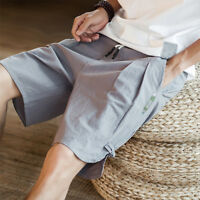 Summer Mens Shorts Casual Loose Beach Flax Linen Breathable Trousers Short Pants