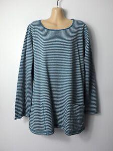 SEASALT CORNWALL Henon teal &grey striped reversible long-sleeve tunic top, 18