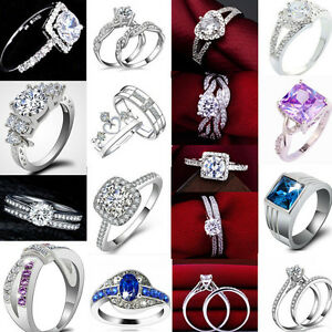 Women Engagement Wedding PARTY crystal Cubic Zirconia Silver Plated Ring Jewelry