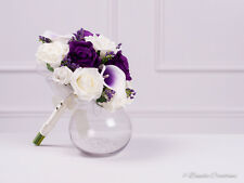 Silk Rose & Calla Lily Bridesmaid Posy Bouquet,  Purple & Ivory Wedding Flowers