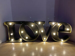 """Marquee Letters LOVE Sign Light Up Metal Rustic Distressed Wall Decor 7x23"""""""