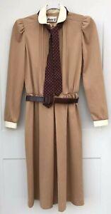 Act I New York Women's Beige Vintage 3/4 Sleeve Tea Dress Belt Tie Buttons flaw