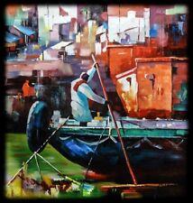 INDIAN dipinto, olio su tela, grande spatola, con texture.