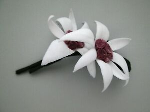 White Cotton Edelweiss Flower Brooch Pin Boutonniere Flowers for Hats Handmade