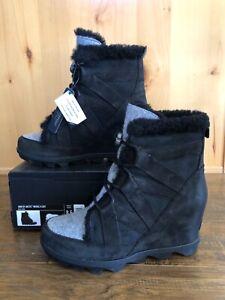 Sorel JOAN Of ARTIC BLACK WEDGE COZY BOOTS 8.5 BLACK BRAND NEW Ankle Waterproof