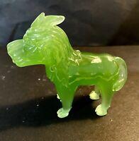"Vintage Green Art Glass Foo Dog Figurine 3""x 3"""