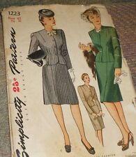 Vintage 1940s Simplicity 1223 Plus SIze 2pc Suit Dress Pattern 42B NEW FF