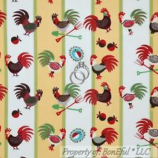 BonEful Fabric FQ Cotton Quilt Yellow Red Green Rooster Chicken Kitchen L Stripe