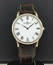 Baume & Mercier Geneve 18k White Gold Case Leather Strap White Dial Steel Buckle