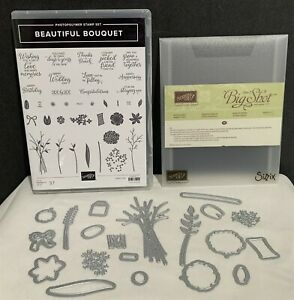 Stampin Up BEAUTIFUL BOUQUET Bunch Framelits Wildflowers Flowers Rubber Stamps