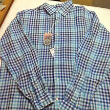 Cremieux Collection 100% Linen Blue Check Long Sleeve Men Shirt L $79.50 New
