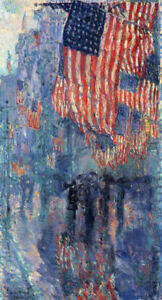 "The Avenue In The Rain by Childe Hassam, Oil Painting Reproduction, 18"" x 34"""