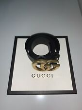 "Gucci Double G Buckle Belt Authentic Women Size 85cm 34""Black Leather Width 1.5"""