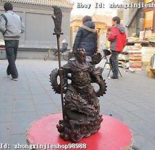 """10""""China pure Red Bronze Huge Dragon Guan Gong warrior Buddha Guan Yu Statue"""
